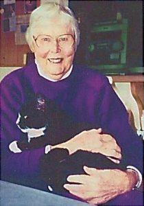 Rosemary Matson holding Socks